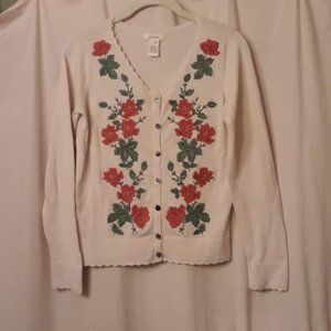 Sundance XS Rose Embroidered Cardigan